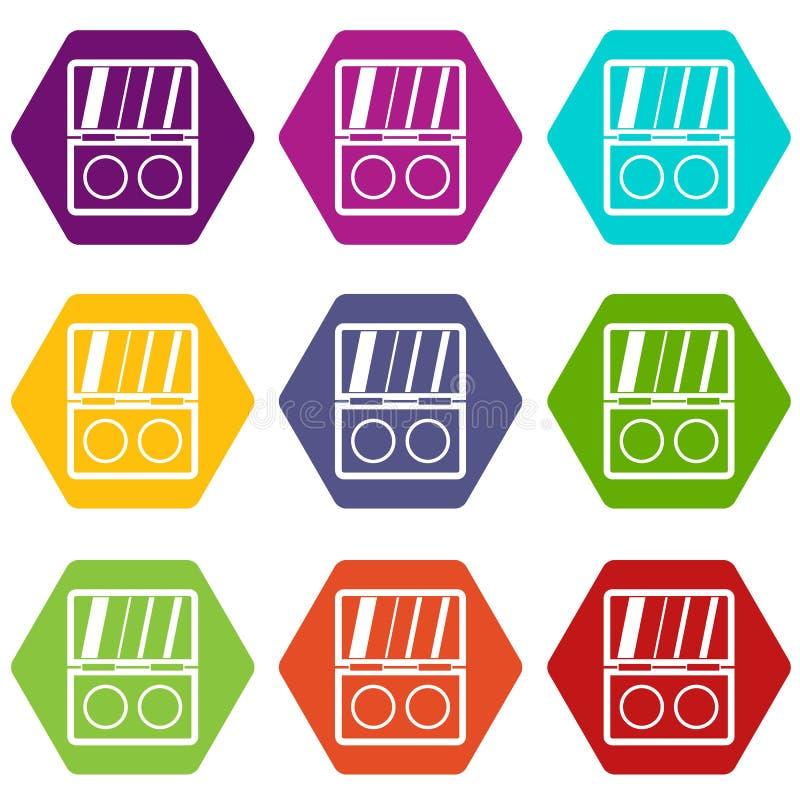 Shadow kit icon set color hexahedron stock illustration