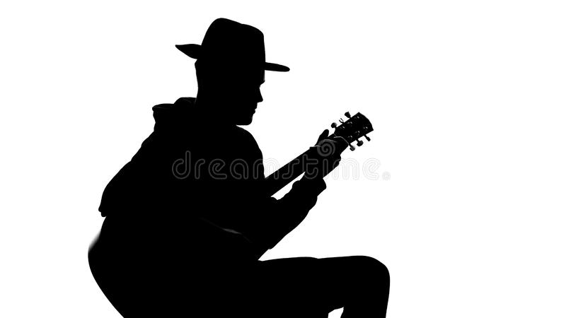 Shadow of male guitar player performing music at concert, art leisure, talent vector illustration