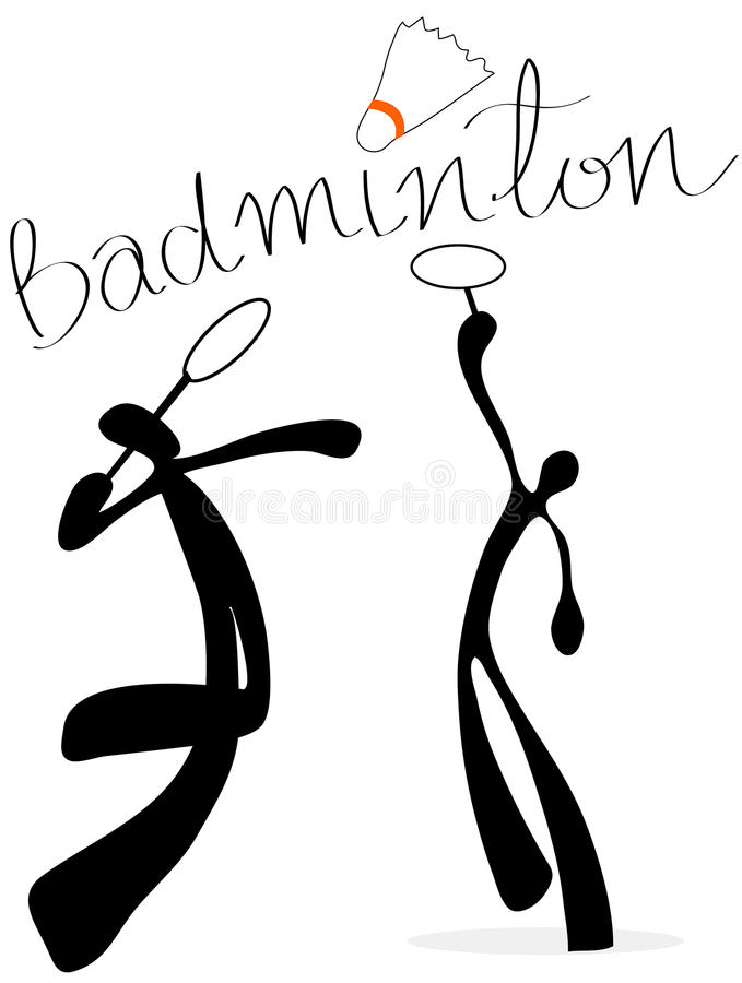 Shadow man badminton cartoon royalty free stock image