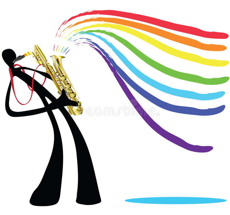 Download Shadow man and saxophone stock vector. Image of gold - 15130096