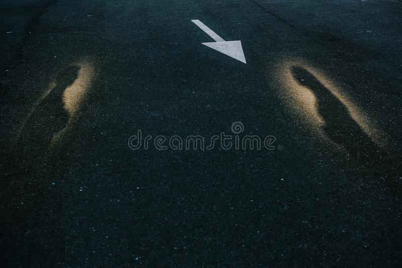The shadow of a man and a woman in the photo royalty free stock photos