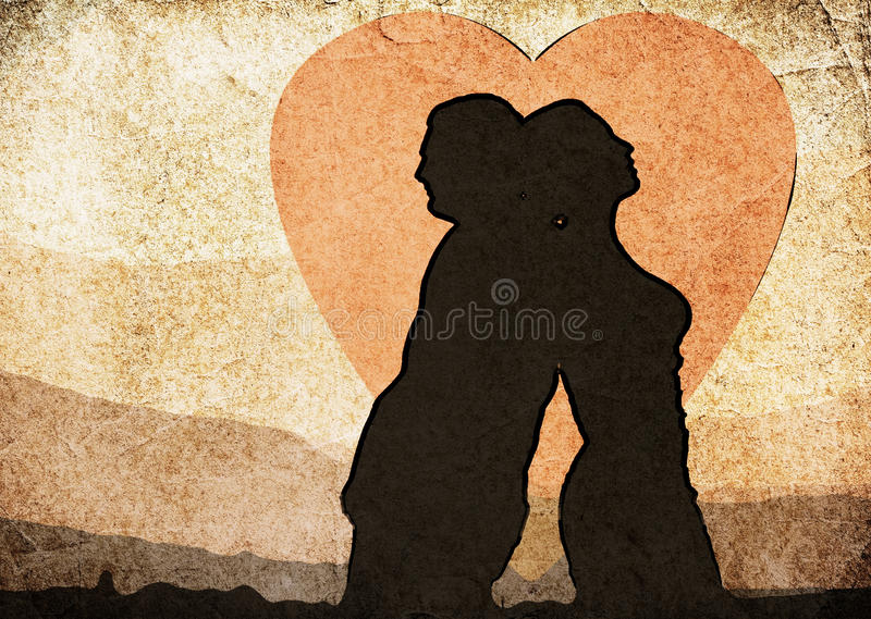 Shadow of the man and the woman. Vintage clipart royalty free stock photography