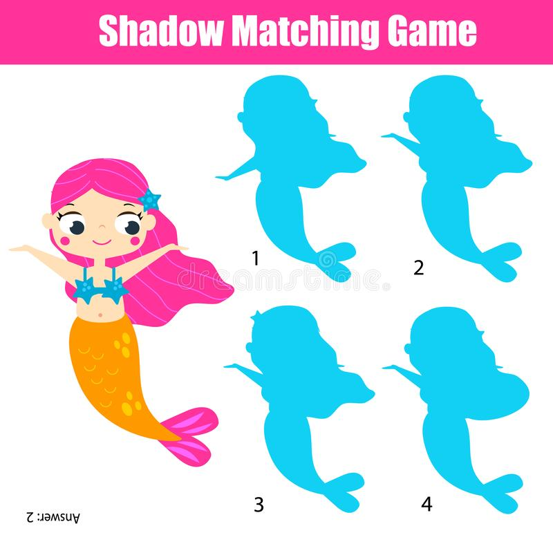 Shadow matching game. Kids activity with cute mermaid stock illustration