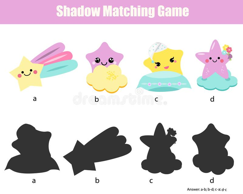 Shadow matching game. Kids activity with cute stars characters vector illustration