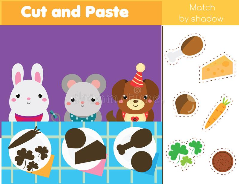 Shadow matching game. Kids activity with food. Put meal into plates. Shadow matching game for children. Find the right shadow. Kids activity with food. Put meal vector illustration