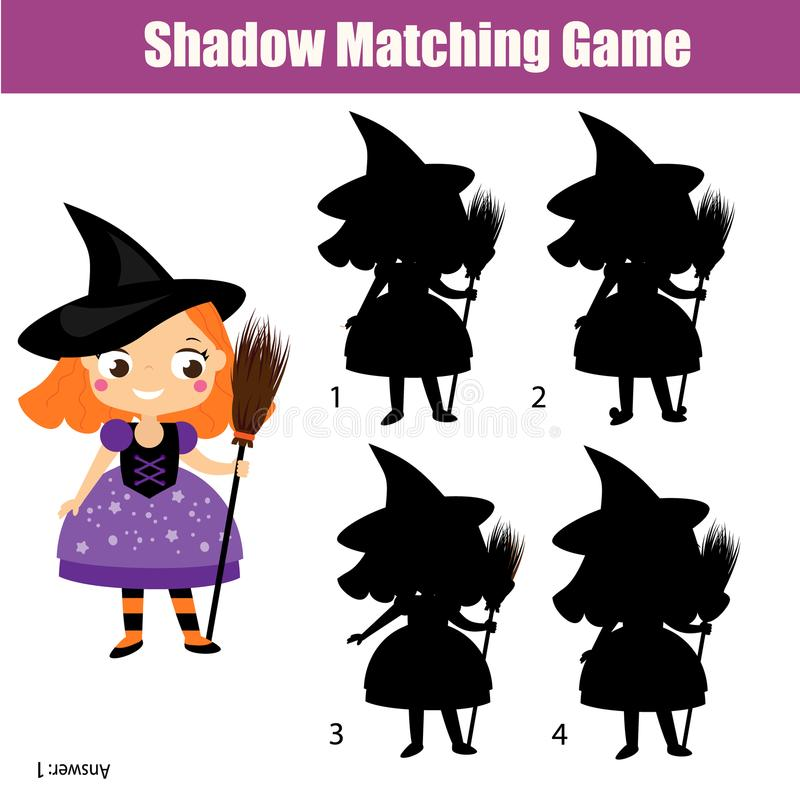 Shadow matching game. Kids activity with girl in witch costume. Halloween theme stock illustration