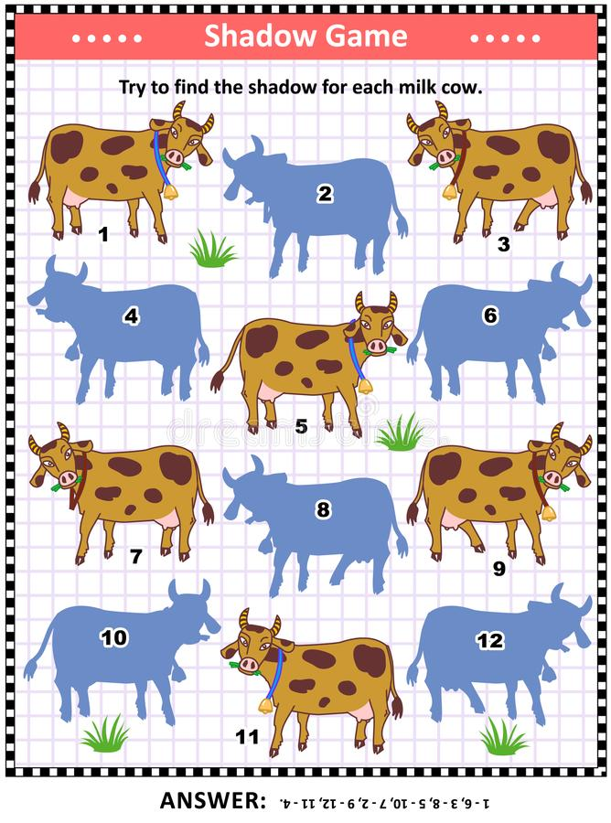 Shadow matching game with milk cows. Shadow matching puzzle or game for kids and adults with spotted milk cows. Answer included stock illustration