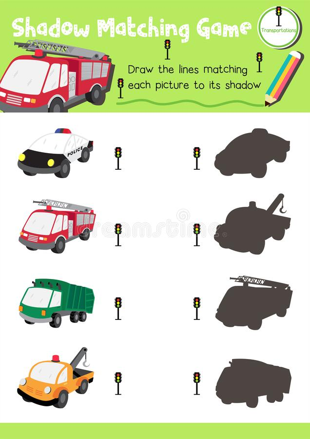 Shadow Matching Game For Preschool Kids Activity Worksheet In Transportation  Theme Stock Vector - Illustration Of Learn, Character: 176628855