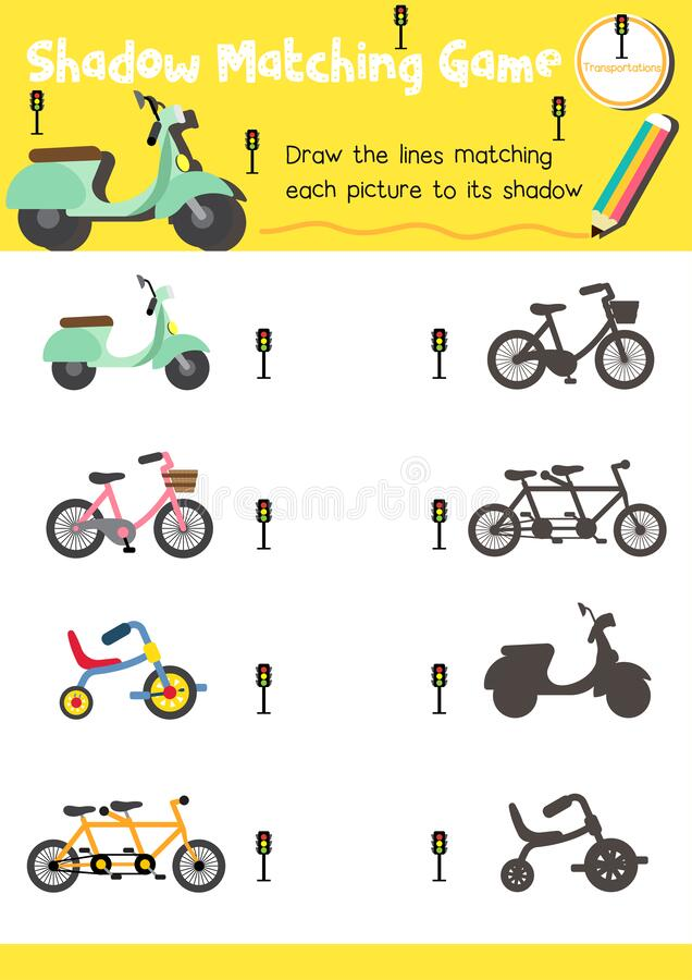 Shadow Matching Game For Preschool Kids Activity Worksheet In Transportation  Theme Stock Vector - Illustration Of Printable, Graphic: 176628879