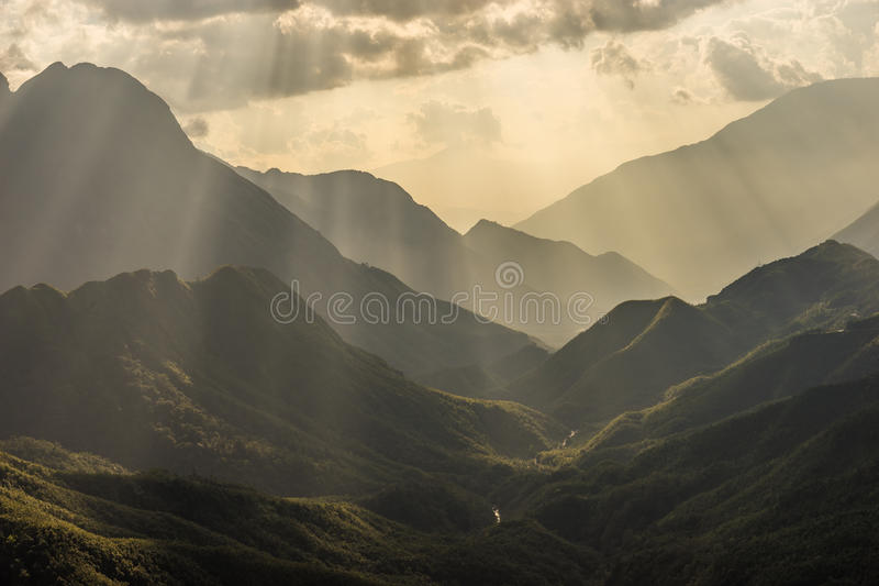 Shadow of mountain layer stock images