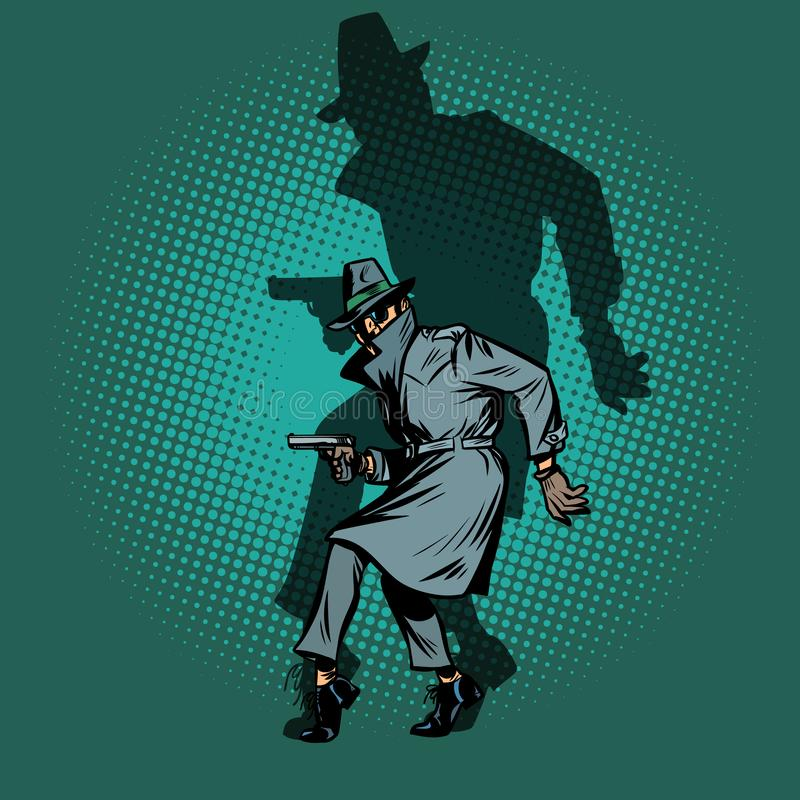 Shadow Noir. detective spy man with gun pose vector illustration