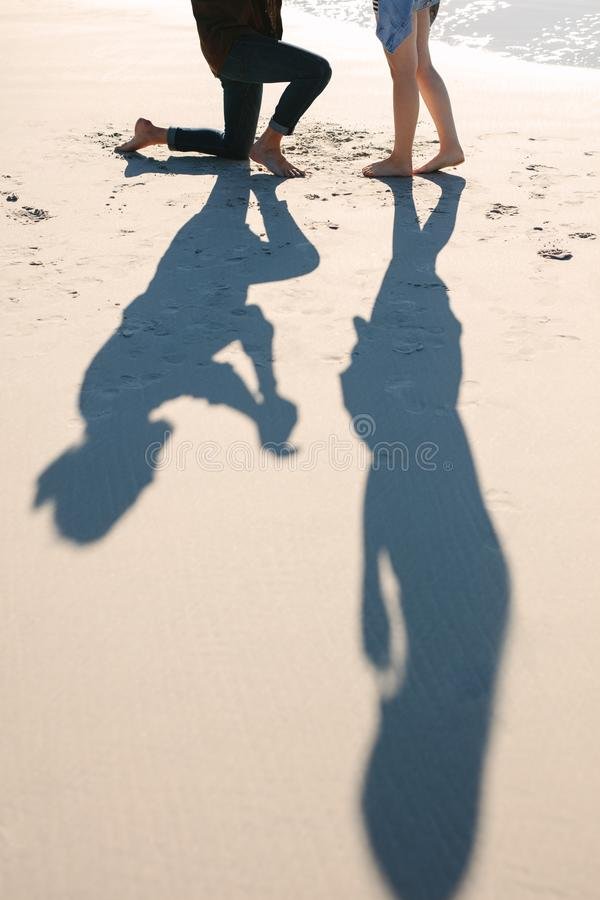 Free Shadow Of Couple Proposing On Beach Stock Image - 139222381