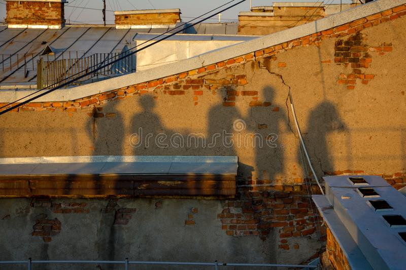 The shadow of 5 people royalty free stock images