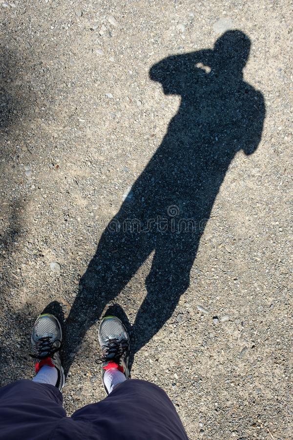Shadow of the photograph as self portrait royalty free stock photos