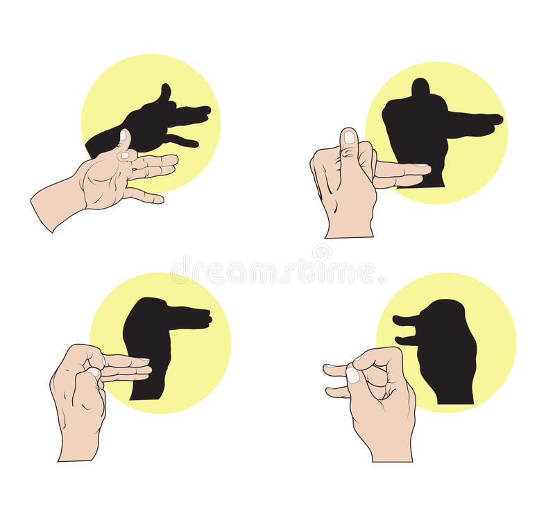 Shadow Puppets. Illustration of shadow hand puppets depicting dogs, duck, and a camel vector illustration