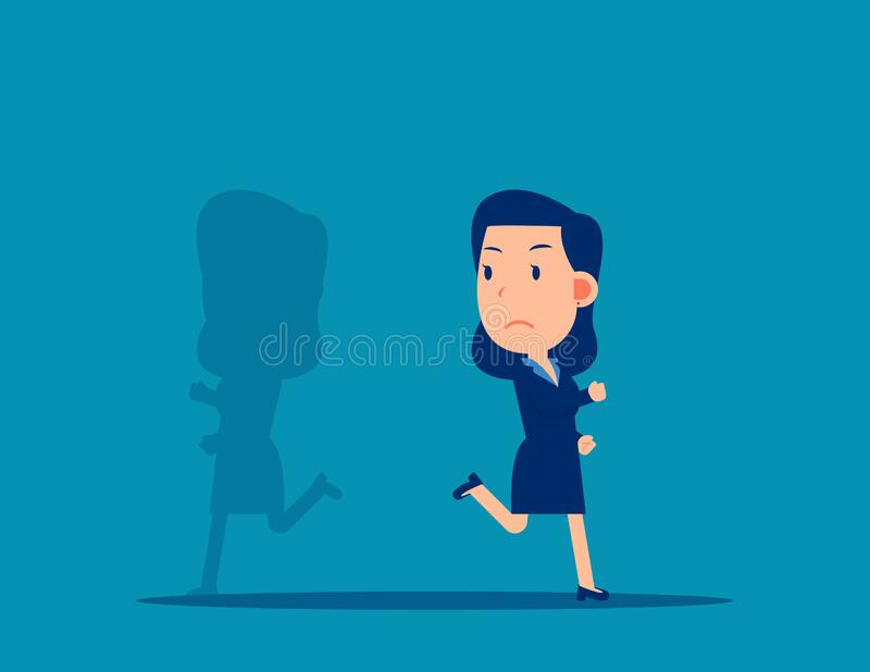 Shadow running different way. Business direction concept. Cartoon vector style design stock illustration