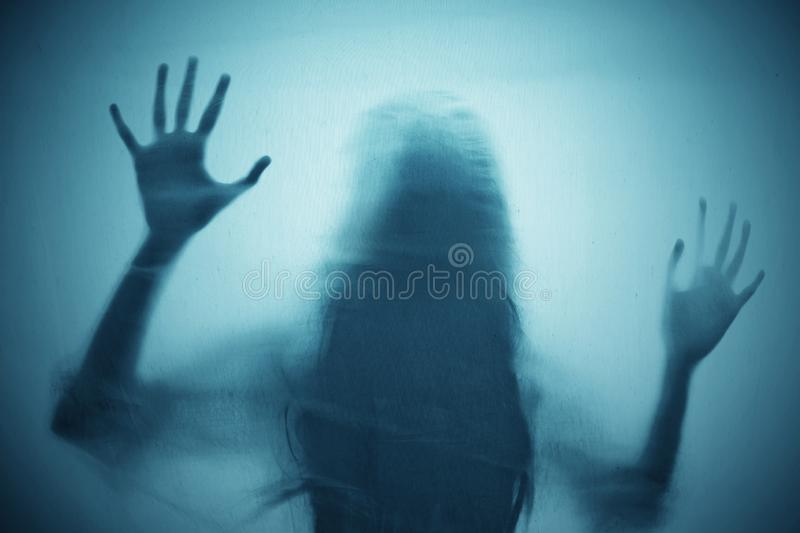 Shadow of scary ghost woman. S royalty free stock photo