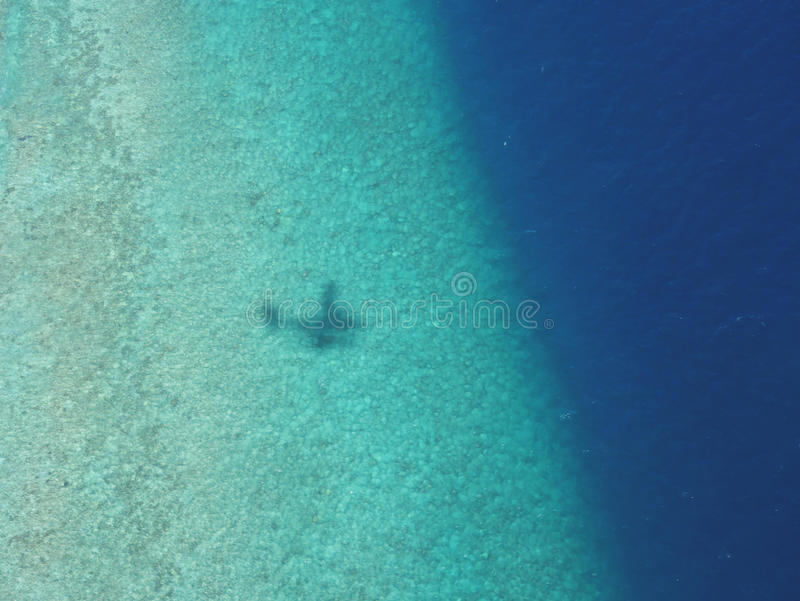 Shadow of seaplane on coral reef barrier of atoll in Maldives. Maldives is tropical country with more than thousand islands, traveling from Male, the capital stock image