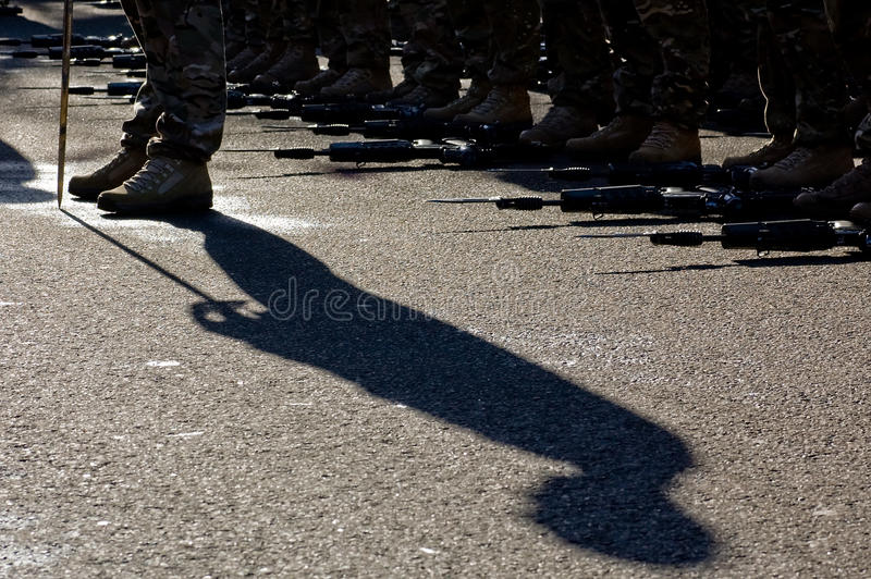 Shadow Standing to Attention (Birtish Army D-Day Parade) royalty free stock photos