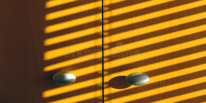 The shadow of the sun blinds on the doors of wardrobe.  stock image