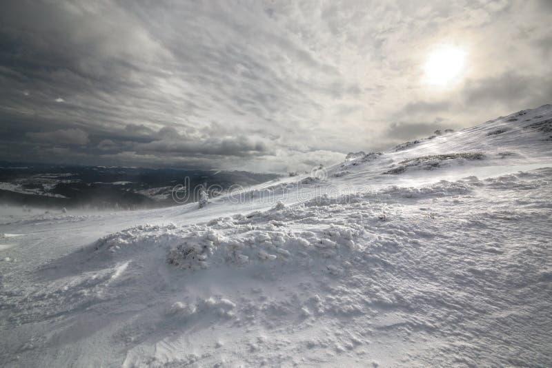 Shadow sun. Carpathian, Ukraine. Fantastic winter landscape. Carpathian, Ukraine. Beauty world royalty free stock image