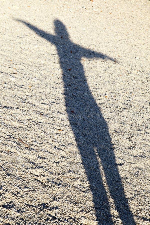 Shadow of woman performing Yoga royalty free stock photos