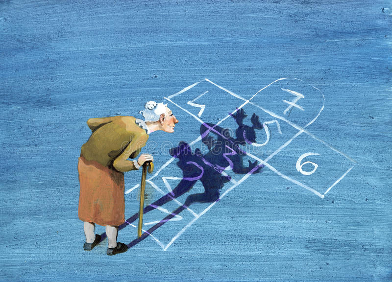 Shadow of youth. An elderly lady watching the game designed on the road, sees his shadow become a girl who jumps in the game royalty free illustration