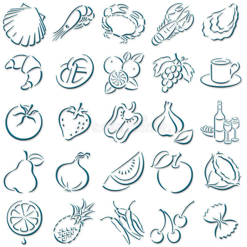 Shadowed food symbols. Collection of darkblue shadowed food symbols stock illustration