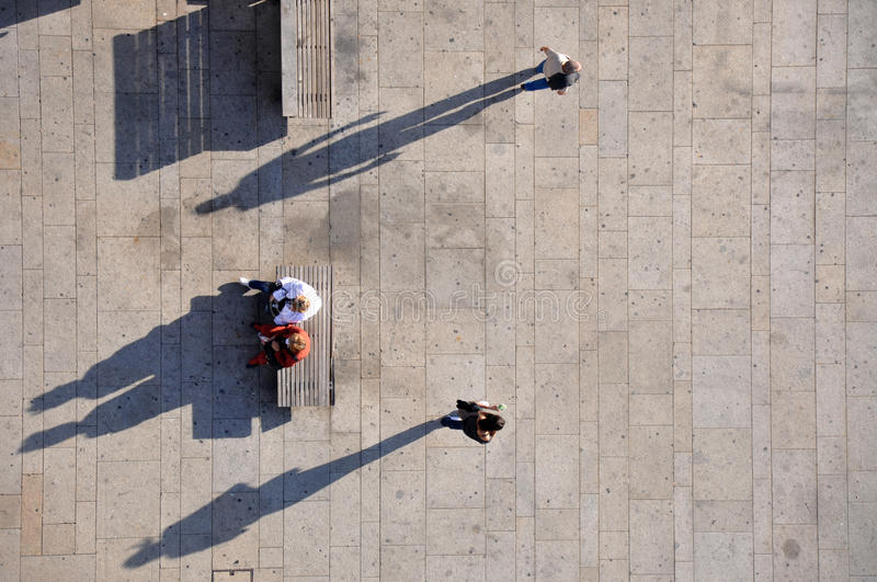 Shadows. People from above, taken from Dom Luis Bridge, Porto, Portugal stock photo