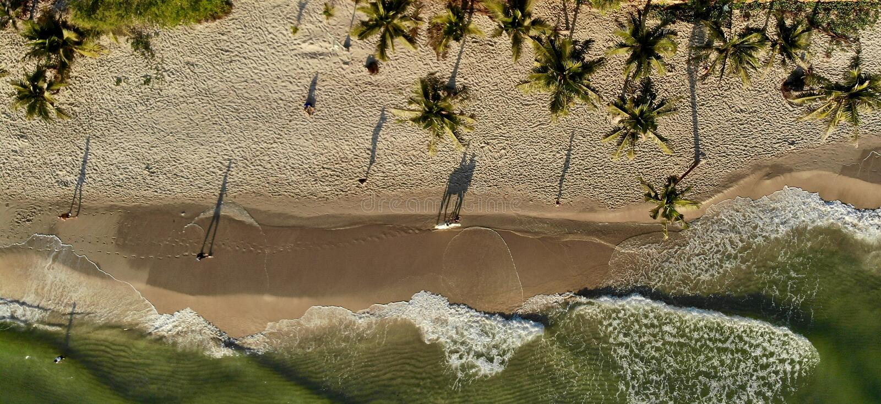 Shadows on the beach at sunrise stock photos