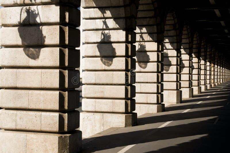 Shadows on Bercy bridge - Paris royalty free stock photo