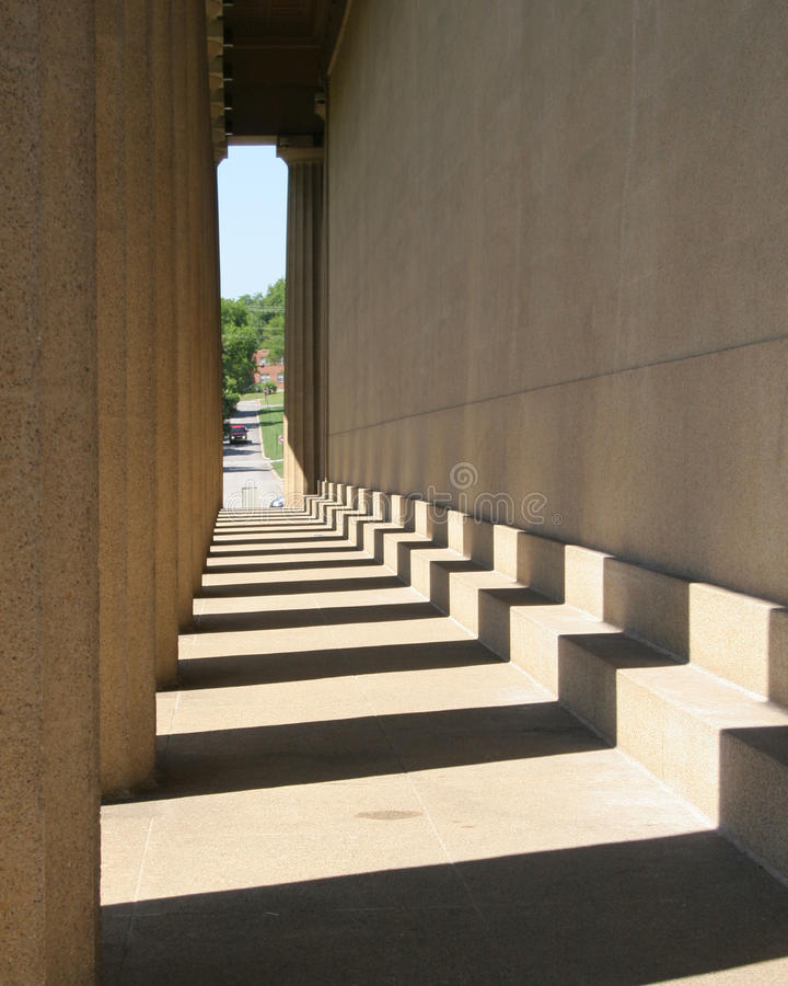 Shadows. Cast from pillars in late afternoon stock photography