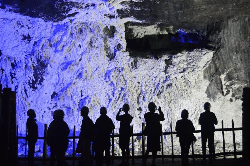 Shadows and salt, nemocon salt mine, colombia stock photos