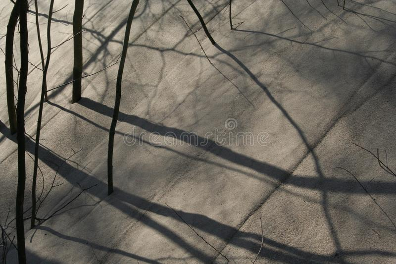 Shadows in the sand dune stock photography