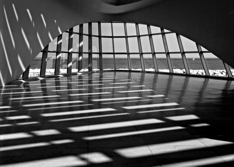 Shadows. Shadow Architecture - Milwaukee Public Art Museum, Milwaukee, WI. overlooking Lake Michigan royalty free stock image