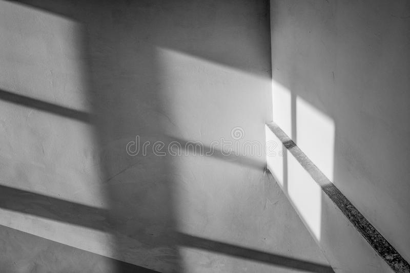 Shadows, stairway. Viewed from, made with a wide angle lens stock images