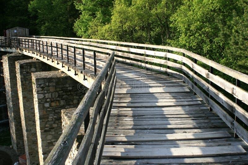 Shadows walking on a bridge royalty free stock images