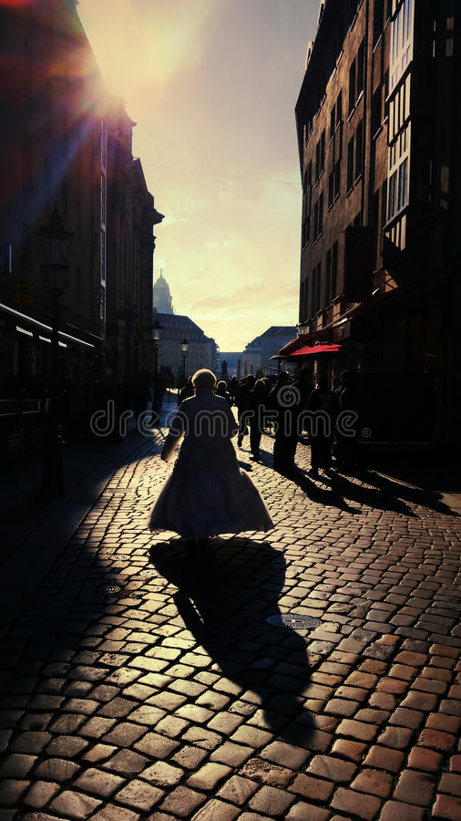 Shadows. Walking in Dresden stock photo