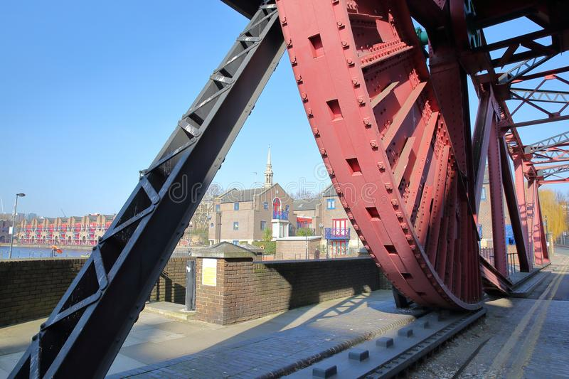 Shadwell Basin Bridge, a bascule road bridge dating from the early 1930s, Wapping stock images