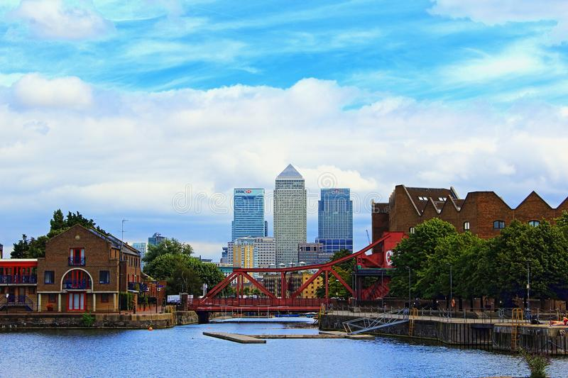 Shadwell Basin Canary Wharf buildings London Great Britain royalty free stock photography