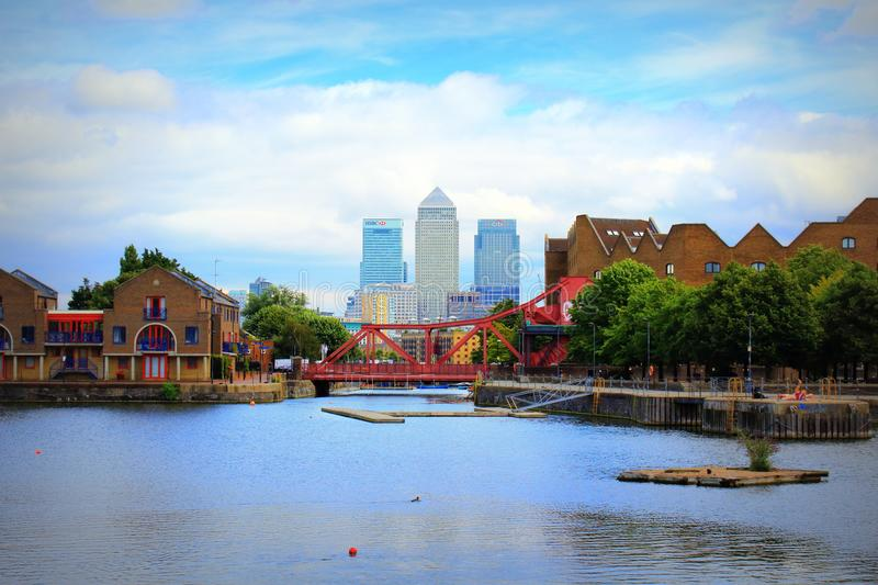 Shadwell Basin Canary Wharf buildings London Great Britain royalty free stock images