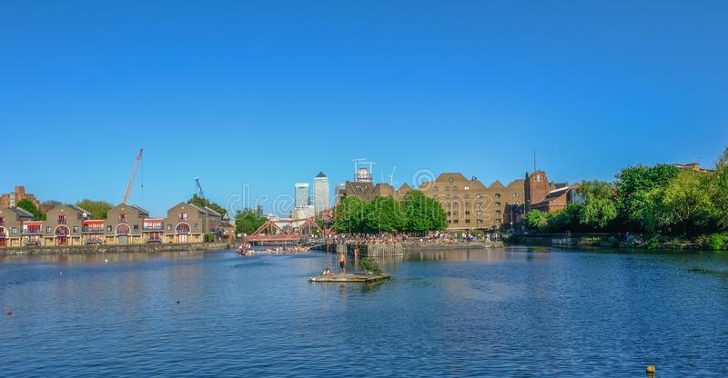 Shadwell Basin on a fine summer`s day. stock photos