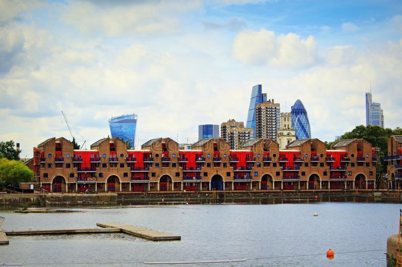Shadwell Basin and City of London skyscrapers royalty free stock photos