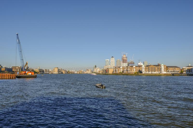 View from entrance to Shadwell Basin on the River Thames. royalty free stock photography