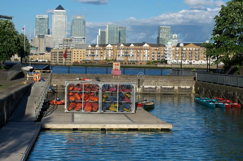 Shadwell Basin water sports and Canary Wharf, UK royalty free stock photos