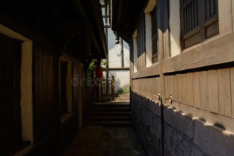 Nice Download Shady Stone Paved Alley In Chinese Traditional Houses On Sunny D  Stock Image