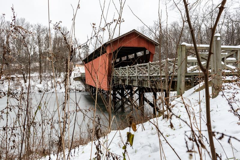 Shaeffer Campbell Covered Bridge through the brambles stock images