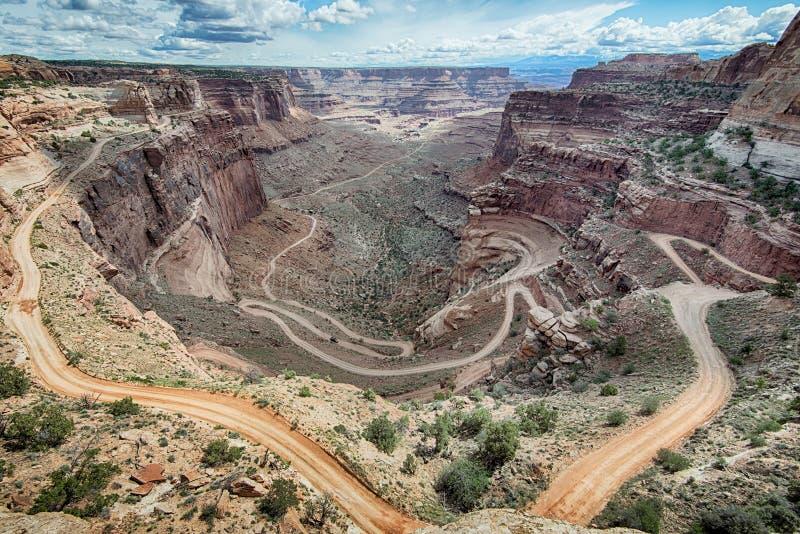Shafer之字形路线,峡谷地国家公园, UT 库存图片