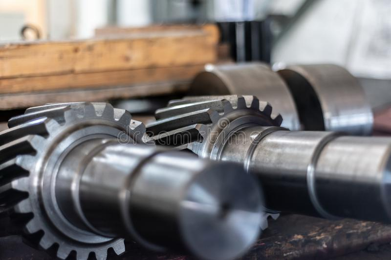 Shaft gear after milling are on the rack.  stock photography