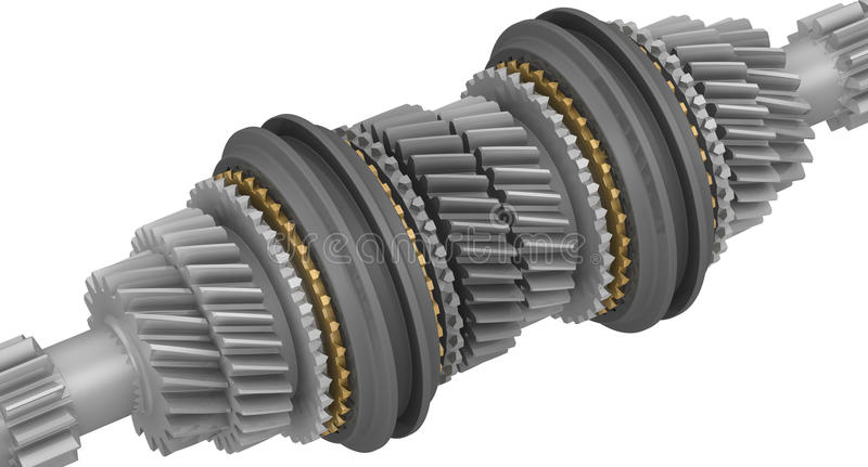 Shaft of gearbox car. A fragment of a transmission shaft of the vehicle. Isolated vector illustration